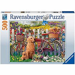 500pc Puzzle - Cute Dogs in the Garden